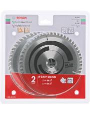 Bosch zestaw 2 tarcz pilarskich Optiline Wood 190x30x2,6mm Multi Material 190x30x2,4mm 2608644655
