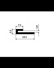 Profil specjalnego przeznaczenia PSP reklamowy 73001 aluminiowy 19,5x5,5x1.8mm 1mb PA38