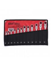 Kraft&Dele 12-elementowy zestaw kluczy płasko oczkowych z grzechotką łamanych 8-19mm KD10947